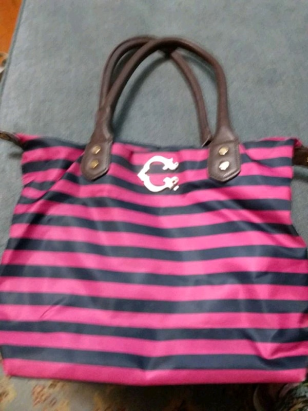 C Wonder Nylon Stripe Bag Zipper Top
