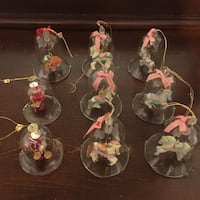 Lot of 6 Vintage Carousel Christmas Clear Glass Bell Ornament Hand Painted Horses + 1 Tiger + 2 Wooden Figures South-West Oxford, N5C 3J7
