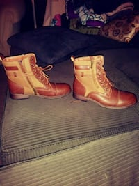 pair of brown leather side-zip combat boots