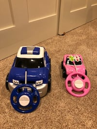 Blue and pink rc cars