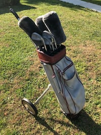 $100 vintage golf set,clubs brand Campbell and golf cart Ajay Playmate