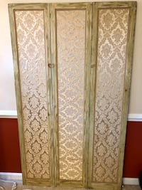 Antique Screen, Room Divider, Cloth covered Greenville