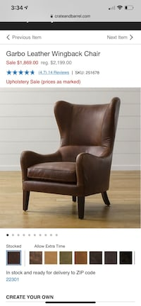 Crate and Barrel Leather Wingback Chair Alexandria, 22311