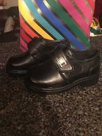 toddler's black leather velcro dress shoes
