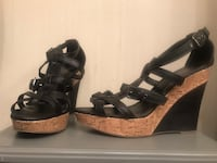 Black strappy wedge sandals  Annandale, 22003