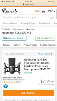 HIGH QUALITY MICROPHONE Neumann TLM 102 FOR STUDIO FOR SALE Laval, H7X 4C9