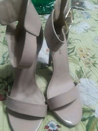 pair of gray leather pointed-toe heels Baltimore, 21206