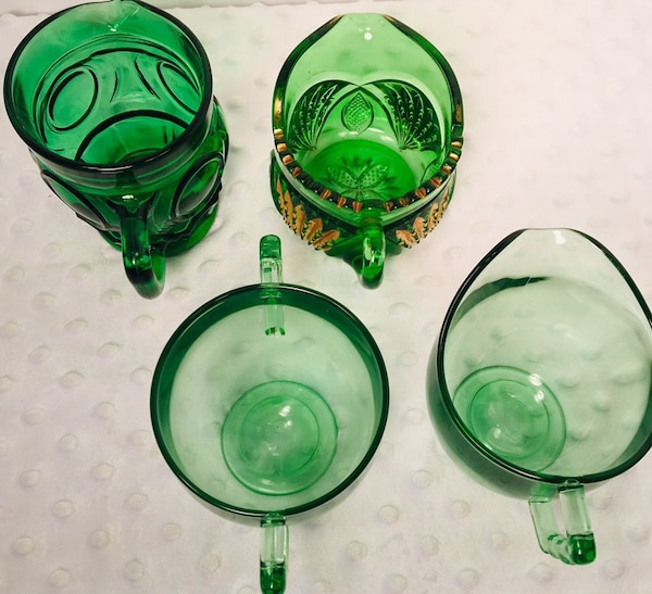 Vintage 4 pc Forrest Green Glass Creamer & Sugar Bundle d7f8161c-c4f3-48b6-b127-db149cdd251b
