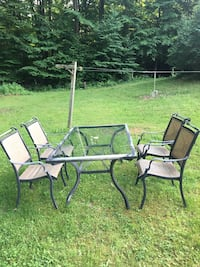 Black metal framed glass top patio table with chairs Campbell Hall, 10916