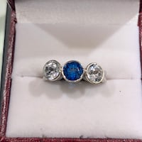 14k custom made w Synthetic blue sapphire flanked by white topaz Yorktown, 23692