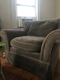 black leather sofa chair with ottoman New York, 11215
