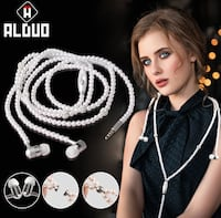 Beautiful Fashion Pearl Beads Necklace Earphones
