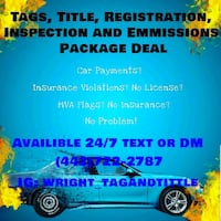 1 year official hard tags, new title new registration  [TL_HIDDEN]  Towson, 21204