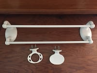 Double towel rack, porcelain and matching soap and toothbrush holder Pleasant Valley, 12569