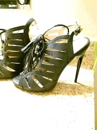Black leather open-toe strappy heels West Palm Beach, 33415