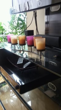 Glass colored candle holders