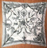 Hermes Carre Scarf Stole Silk 100% ETRIERS Armor Pattern Silver Auth Mint rare null