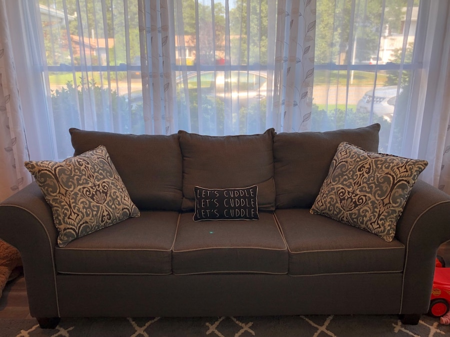 Gray 3 Seat Sofa With Accent Pillows