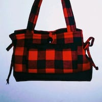 black and red plaid tote bag Homer City, 15748
