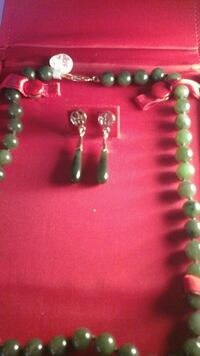 VINTAGE JADE NECKLACE & EARRINGS
