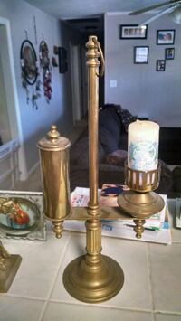 Brass oil lamp style candle holder