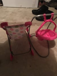 baby's pink and black high chair Cedar Park, 78613