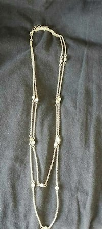 silver-colored link chain 2-strand necklace
