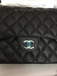 Black leather quilted tote bag Richmond Hill, L4C 0K5