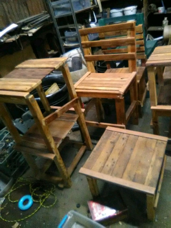 Homemade Wooden Chairs Tables Shelves And Bench