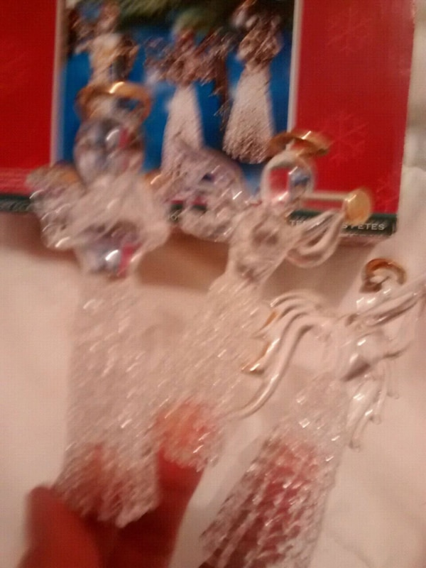 3 glass angels ornaments with gold trimmimg