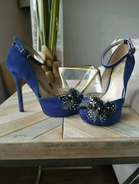 pair of blue leather platform stilettos Beltsville, 20705
