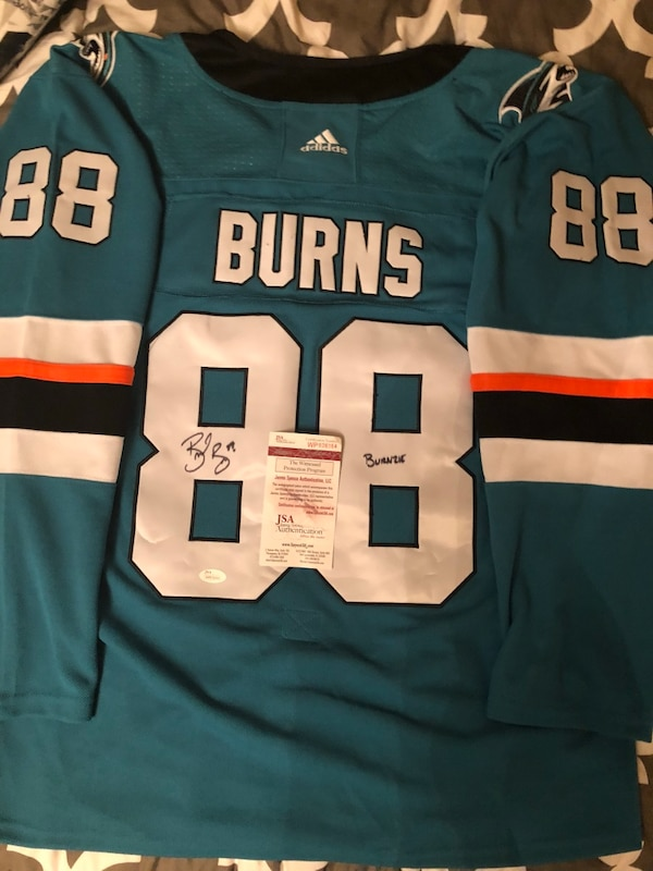 huge discount 8bc8c ae074 SJ SHARKS BRENT BURNS SIGNED INCRIBED JERSEY