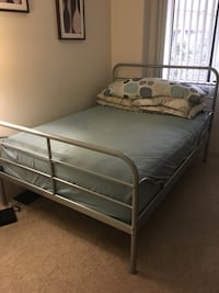 Grey metal bed frame with white mattress Richmond, V7A 2E5