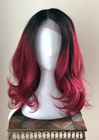 Beautiful Ombré Lace Front Dark Red Wig , T0J