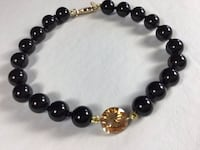 "New 7 3/4"" Elegant Black Crystal Pearl Bead Bracelet Crystal black pearls are made by Swarovski with Champagne Cubic Zirconia (CZ) Center Stone Chesapeake, 23320"
