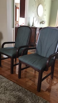 Two gray and brown armchairs $10 each
