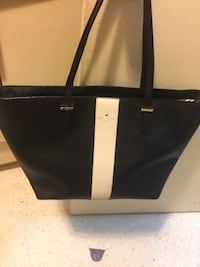 Kate spade black and off white large leather purse new