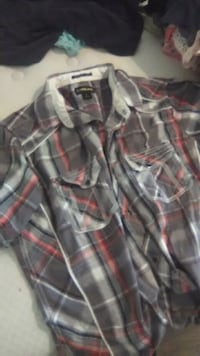 pink, grey, and black plaid button-up shirt