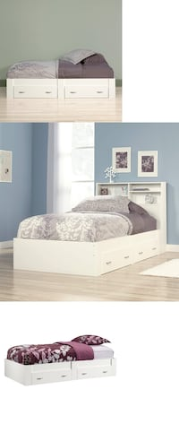 Beginnings Twin Platform Bed with Headboard, Soft White, #415546 Santa Fe Springs