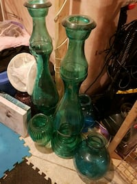 Large Glass Candlesticks and vases
