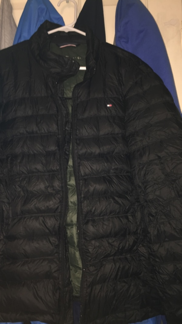 complimentary shipping variety design new Black Tommy Hilfiger bubble jacket