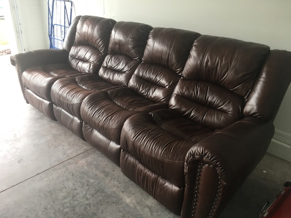 Brown leather 4-seat recliner sofa