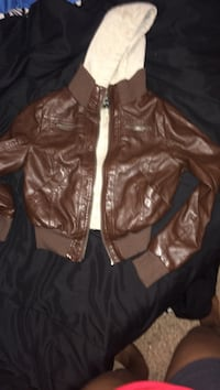 brown white leather zip up jacket Fayetteville, 28314