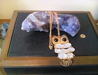 Owl necklace/frosted beach glass on 28 inch chain Welland, L3C