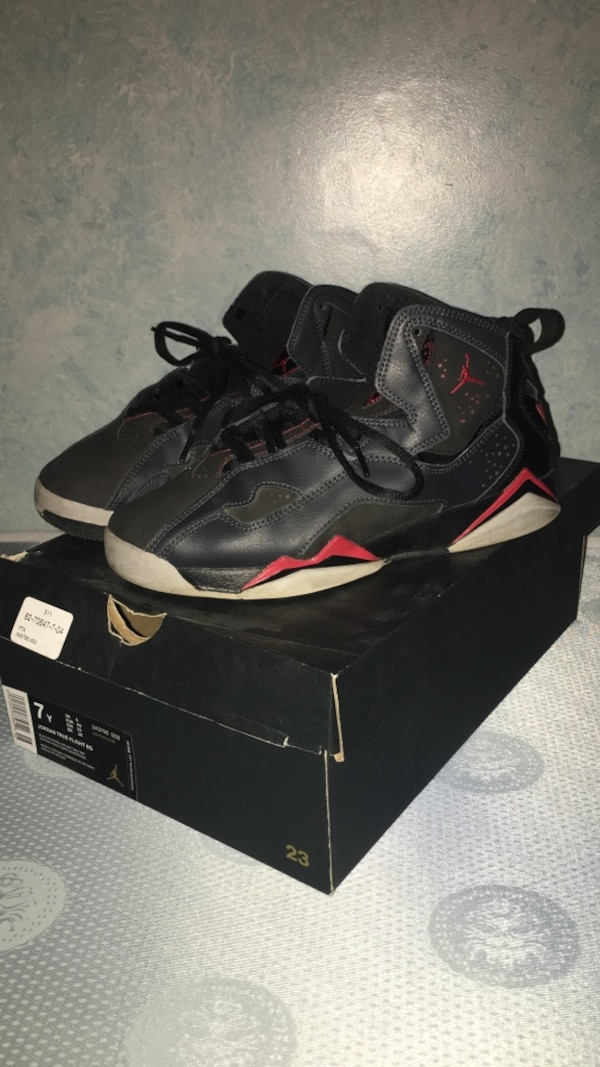 new concept a9ddc d0f2d Black red and white air jordan 7