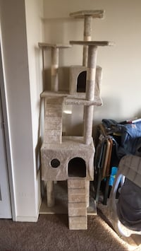 gray and brown cat tree