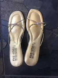 Gold shoes with  heel