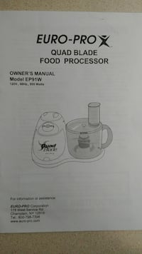 Euro Pro 4 blade food processor Tacoma, 98422