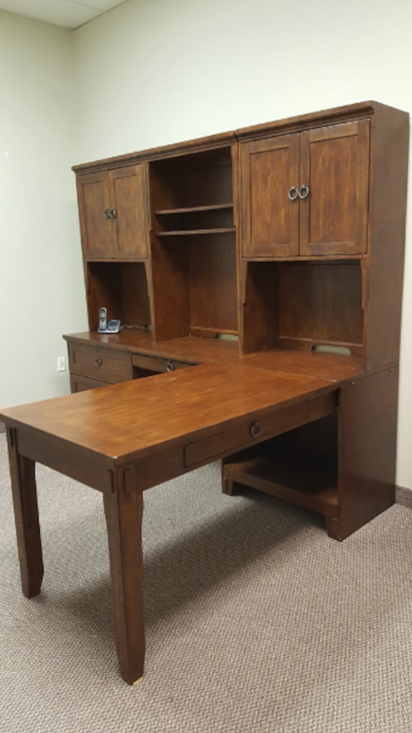 L Shaped Mission Style Executive Desk