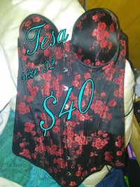 women's black and red floral print corset